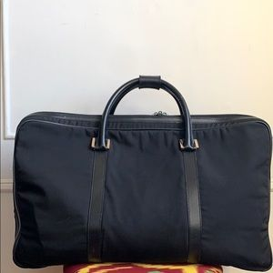 Gucci Black Leather and Canvas Luggage